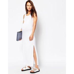 NWT ASOS White Sleeveless Maxi Dress w/ Split Side